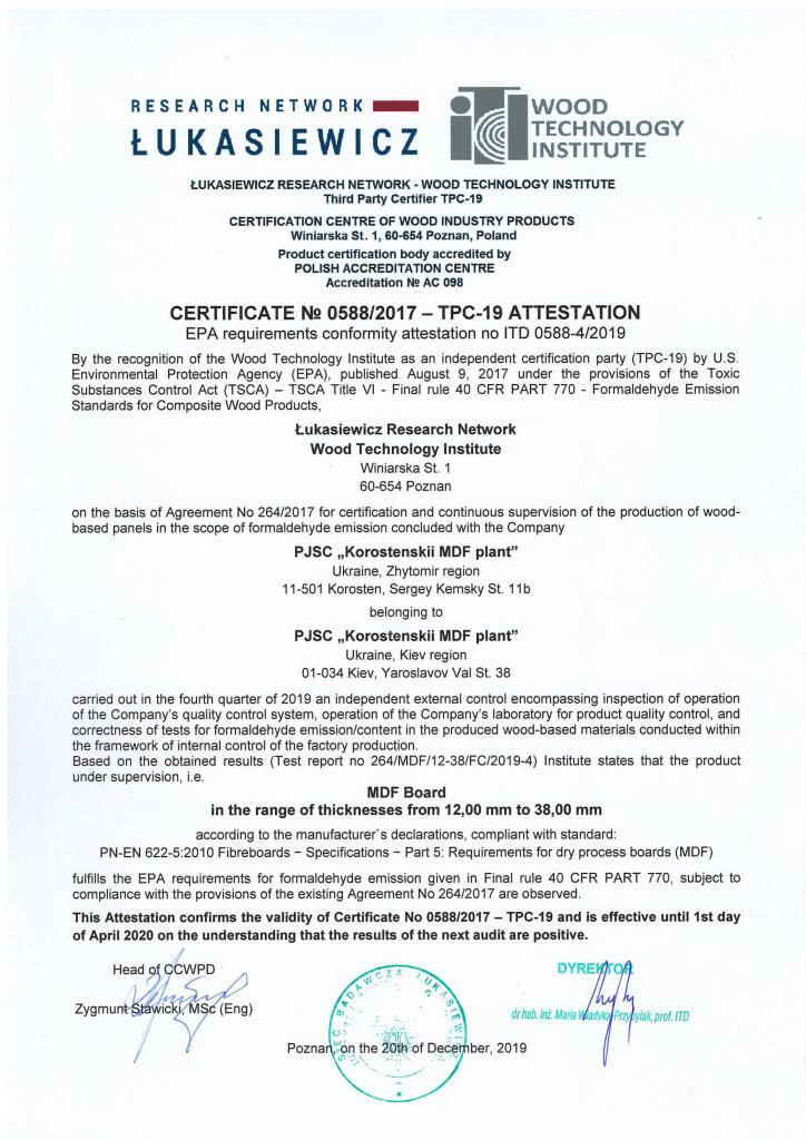 CERTIFICATE No 0588 2017